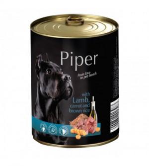 PIPER konservai šunims su ėriena, morkomis ir rudaisiais ryžiais