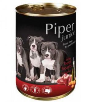PIPER Junior konservai šuniukams ir jauniems šunims su jaučių širdelėmis ir morkomis