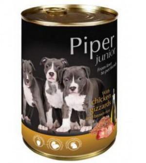 PIPER Junior konservai šuniukams ir jauniems šunims su vištų skrandukais ir rudaisiais ryžiais