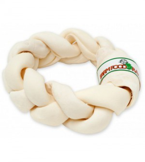 farm food rawhide dental braided donut