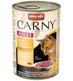 Animonda Carny Adult konservai katėms su jautiena, vištiena ir ančių širdelėmis