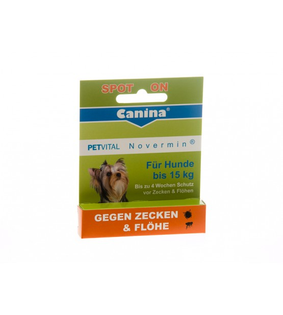 Canina Petvital lašai nuo parazitų Novermin Dog iki 15 kg