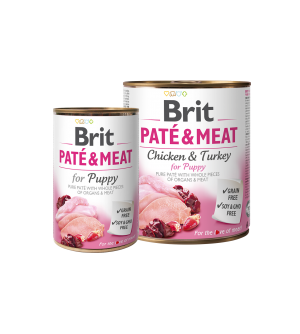 BRIT CARE Chicken&Turkey for Puppy Pate & Meat konservai šuniukams 400g