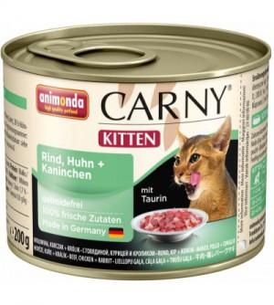 Carny Kitten konservai katėms su jautiena, vištiena ir triušiena
