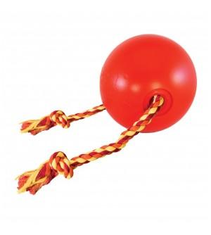 Žaislas gumi. kamuolys raud. su virve