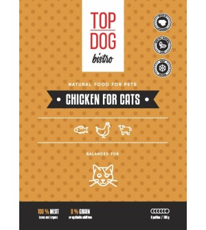 Top Dog Bistro Chicken for Cats šaldytas maistas