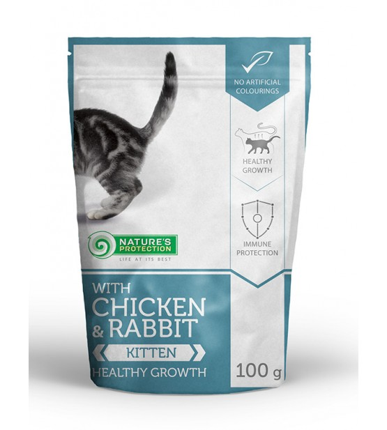 Natures Protection Kitten Healthy Growth Chicken Rabbit konservai kačiukams