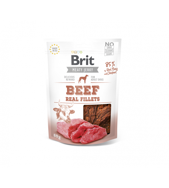 Brit Jerky Beef Real Fillets skanėstas, 80g