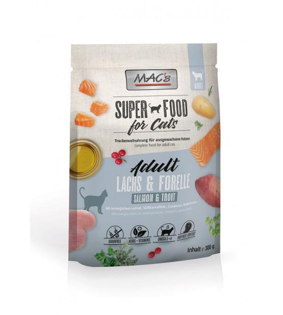 Mac's Cat Dry Adult sausas maistas katėms su lašiša ir upėtakiu