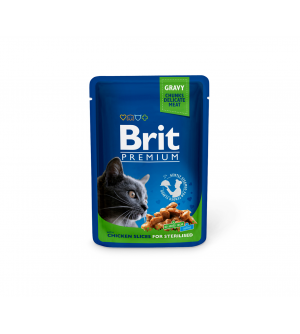 BRIT PREMIUM Cat Pouch Chicken Steril. konservai katėms 100g