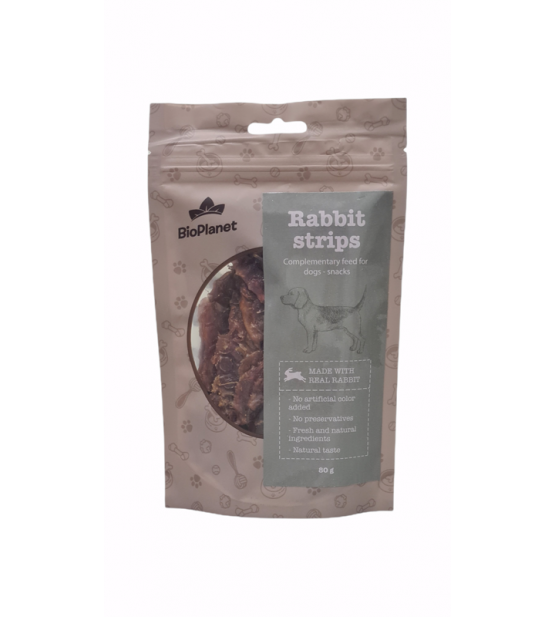 BioPlanet Snack Rabbit Strips skanėstas šunims 80g