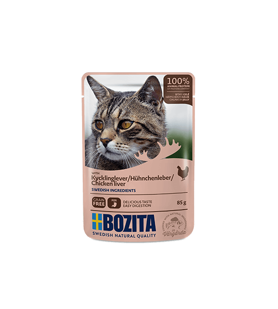 Bozita konservai katėms - vištienos kepenėlės drebučiuose