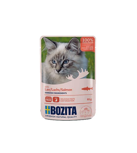Bozita konservai katėms - lašišos gabaliukai drebučiuose