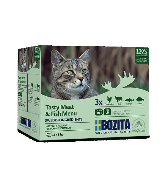 Bozita konservų katėms rinkinys - žuvies ir mėsos gabaliukai drebučiuose
