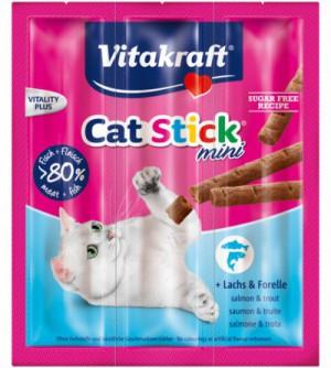 Vitakraft Cat Stick Skanėstai katėms su lašiša ir upėtakiu.