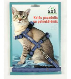 Gufi odinis katės pavadėlis su petnešėlėmis